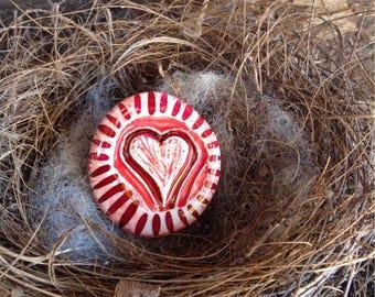 Ceramic Heart Brooch, Red Lustre Accents, Handmade