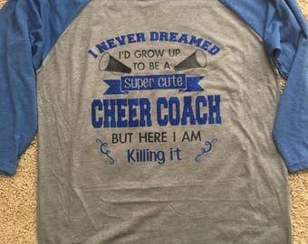 Cheer Coach on baseball tee shirt