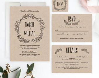 Rustic Wreath Printable Wedding Suite Set - Wedding Invitation Editable PDF Template - Instant Download #RWC