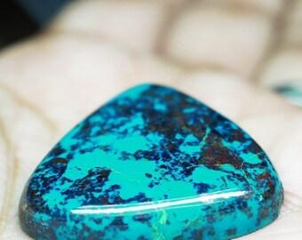 Crysocolla , Size - 31 x 31 mm Approx,  Cabochon Stone , Trilian Shape, 1 pc.