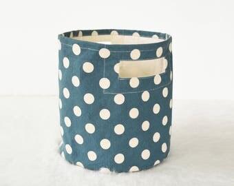 Canvas basket, polka dot print, denim blue and off white, storage basket, fabric bin, sizes available
