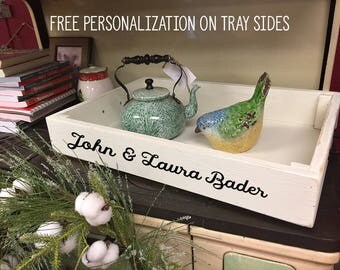 Wood Serving Tray | Handmade Tray | Personalized Tray | Distressed Painted | Farmhouse Style | Solid Wood | Coffee Table Tray | White