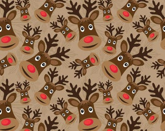Rudolph Fabric by the Yard Cotton, Kids Christmas Fabric, Reindeer Holiday Fabric by the Yard, Christmas Cotton Fabric by the Yard 5891974
