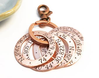 Rustic Copper Coordinates  Keychain ~ Longitude ~ Latitude ~ Key Ring ~ Washer ~ Anniversary Gift under 20 ~ Important Location Reminder