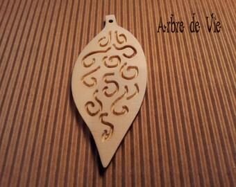 Carved wood leaf pendant