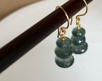Dangle Earrings of Faceted Moss Aquamarine Rondelle with 24 Karat Gold Vermeil