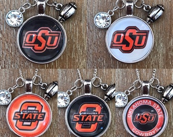 Oklahoma State University Cowboys College Sports Inspired Fan Charm Necklace
