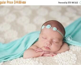 SALE Aqua Flower and Rhinestone Headband, Rhinestone Headband, Baby Headband, Newborn Photo Prop, Baptism Headband, Christening Headband