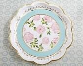 Bridal Shower Paper Plate in Teal and Gold, Vintage Floral Design, Tea Time Collection (Set of 8)