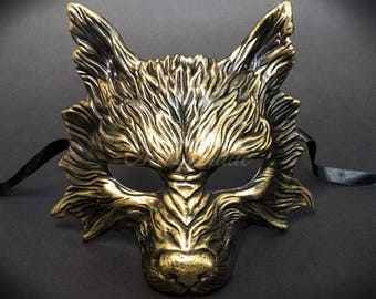 Wolf Halloween Haunted House Props Animal Masquerade Mask Gold