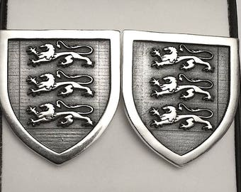 Triple Lion Coat Of Arms Shield Cufflinks