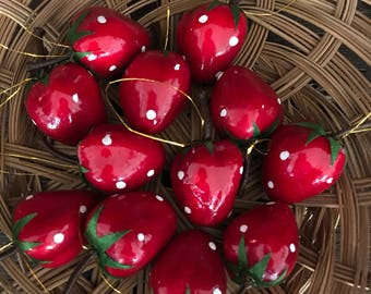 Set of 12 Adorable Vintage Strawberry Ornaments