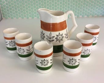 Royal Sealy Floral Leaf Japan Ceramic Pitcher and 6  Cups