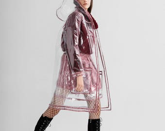 Transparent Pvc Raincoat, clear raincoat, rain jacket,  hooded raincoat, raincoat with floral details, raincoat with big pockets, gift