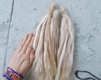 12 inch blonde/fawn white suri locks, doll locks, long suri locks