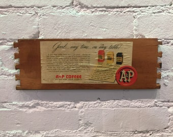 Antique Drawer Panel w/ A&P Coffee Advertisement