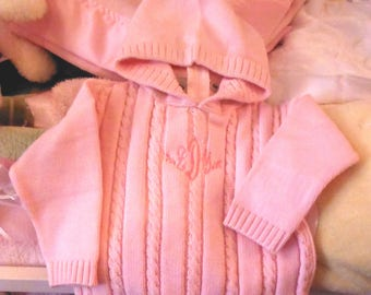 Baby Sweater with Hood and Zipper Back