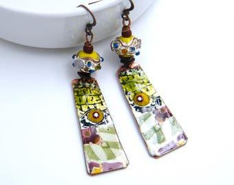 Boucles d'oreilles ethniques - rustiques - cuivre émaillé - émaillage à chaud - artisanal - pièce unique - les bijoux de francesca