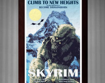 Skyrim - Become Dragonborn - Vintage Travel Poster - 11x17