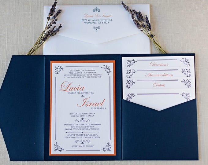 5x7 Navy Formal Classic Pocket Wedding Invitation with Multiple Inserts, RSVP, Envelope Liner and Return Address Printing on Envelopes