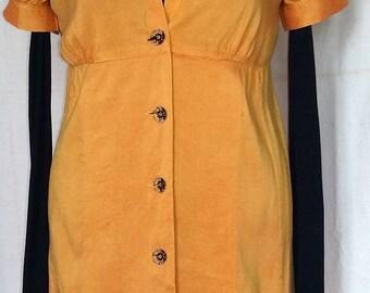PRINCESS LEA WILD BOUTONNEES SAFFRON YELLOW SILK DRESS