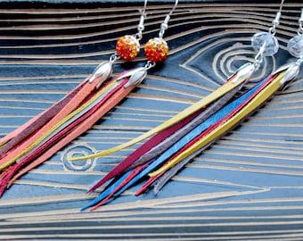 leather tassel earrings , fringe leather earrings, leather long earrings ,dangle earrings orange earrings, coctail jewelry, leather jewelry