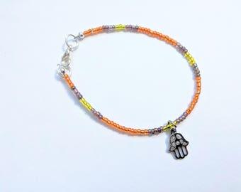 Orange and Yellow Seed Bead Bracelet with Hamsa Charm