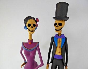 "2 CATRINA SET wholesale lot day of the dead mexican folk art dia de muertos 12"""