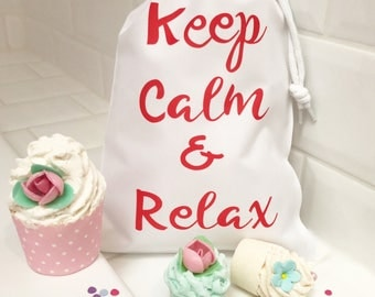 Keep Calm and Relax Bath Gift Set Bath Bombs in Gift Bag