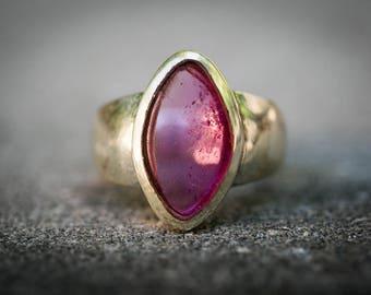 Pink Tourmaline Ring 8 -  Rubellite Tourmaline - Clear Rubellite Ring Size 8 Pink Tourmaline - Engagement Ring Alternative Rubellite Ring 8