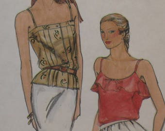 Butterick 3492 Pattern Misses' Camisoles Tops Ruffle Pleated Button Camisole Size 12 Bust 34
