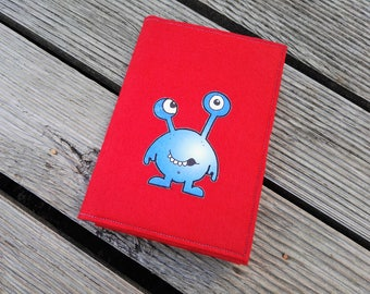 Felted checkered with cover art felt Red Monster A5 notebook