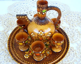 Vintage Pyrography Set of Pitcher, Six Cups and Tray/ Handmade/Bulgarian pyrography/1970s