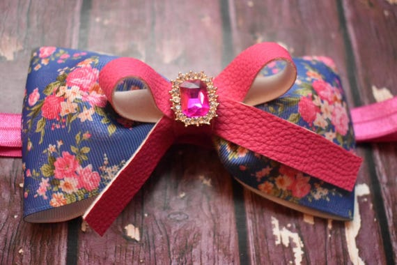 Pretty Denim  Blue and Pink Floral Grosgrain with leather bow - Baby / Toddler / Girls / Kids Headband / Hairband / Barrette / Hairclip