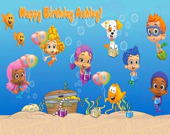 Bubble Guppies Inspired Edible Icing Half Sheet Cake Decor Topper
