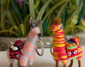 Llama Keychain handmade from Alpaca wool set of 2