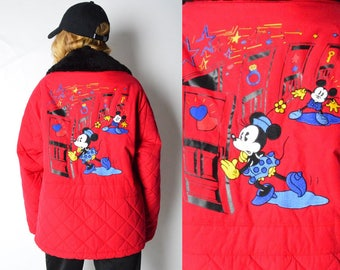 Vintage 80s Red Embroidered Mickey Jacket Size S/M