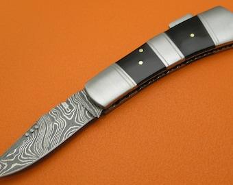 Sana Cutlery Ltd Ed. 100% Handmade & Forged Large Damascus Steel Buffalo Horn Handle Lock Back Folding Knife LE841A-1
