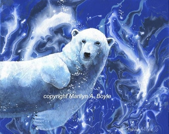 ORIGINAL PAINT POUR with hand painted polar bear swimming under water, 8 x 10 inch wrap around canvas, wall art, enhanced,