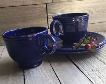 Vintage Fiesta - Cobalt Teacup & Saucer