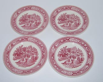 4 Vintage Royal China Memory Lane Bread Plates Apple Harvest