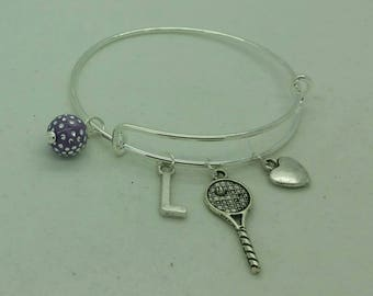 Girls tennis bangle, girls tennis bracelet, girls initial bangle, girls charm bangle