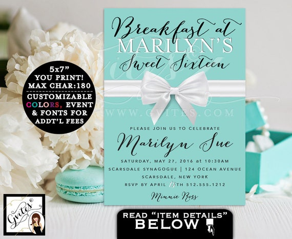 Breakfast at Tiffany's Sweet 16 Birthday Party, Turquoise blue glitz and glam, blue themed white bow ribbon, double sided, 5x7 PRINTABLE