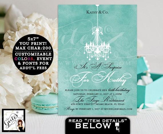 Surprise 60th BIRTHDAY invitations, breakfast at co themed elegant invites, turquoise blue elegant birthday invite chandelier, PRINTABLE 5x7