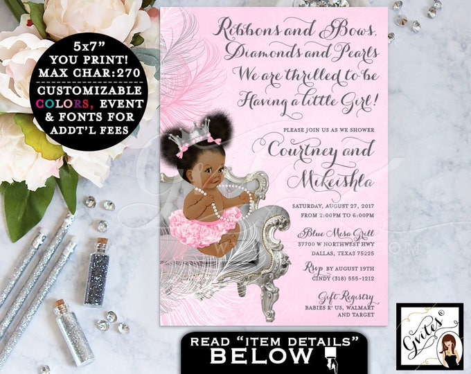 Pink and Silver BABY SHOWER  African American invitation, ribbons bows diamonds and pearls, ethnic princess baby invitations PRINTABLE 5x7