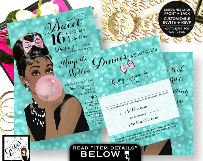 Sweet 16 Invitations, Breakfast at Tiffany's Audrey Hepburn African American Caucasian, double sided, invite + response, Digital File Only!