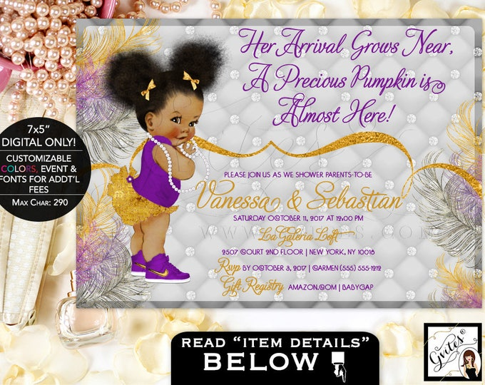 Purple silver and gold, Pumpkin Baby Shower Princess Invitation, African American printable ethnic baby, bows diamonds pearls, glitz glam.