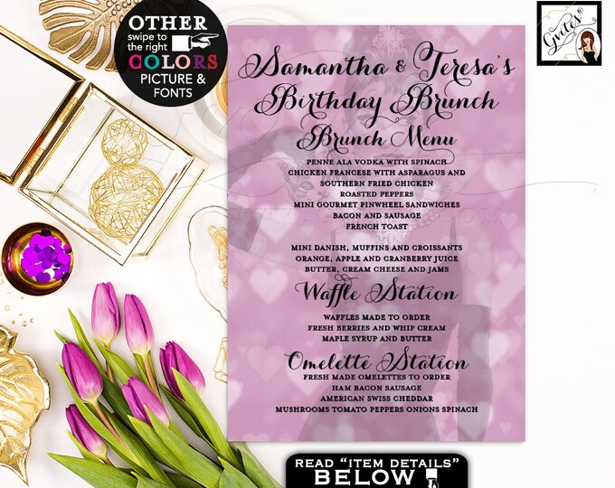 Brunch menu cards, Audrey Hepburn breakfast at lavender purple and co blue themed custom twins menu digital printable. 5x7, digital file.