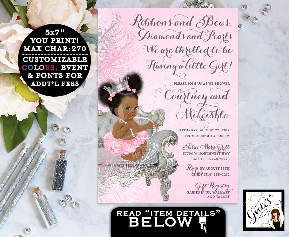 Pink And Silver Baby Shower Princess African American