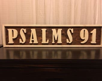 Bible Verse Wall Sign/Wooden Sign/Psalms 91/Scripture/Wooden Wall Art/